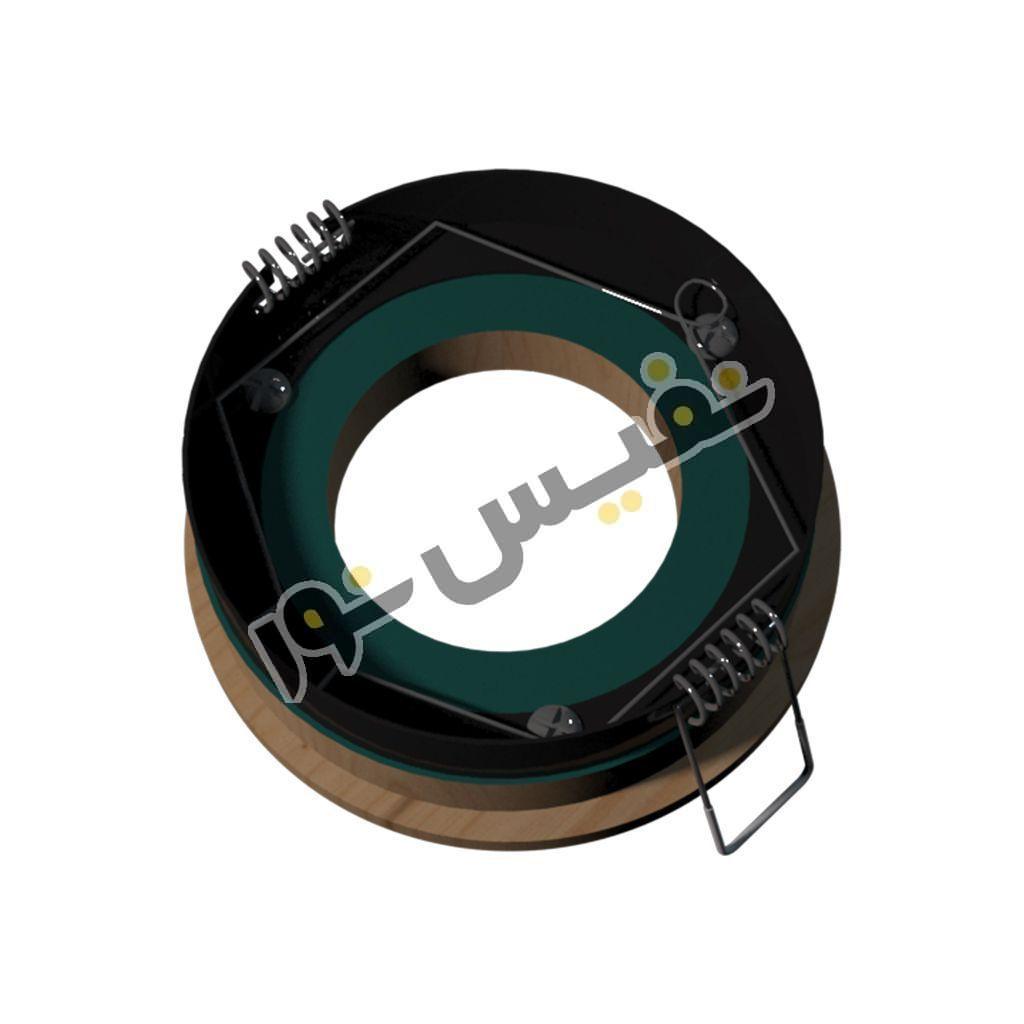 قاب هالوژن چوبی تخت دایره کوچک