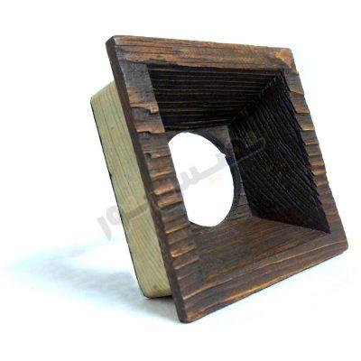 قاب هالوژن چوبی مربع عمیق (یک قلو)