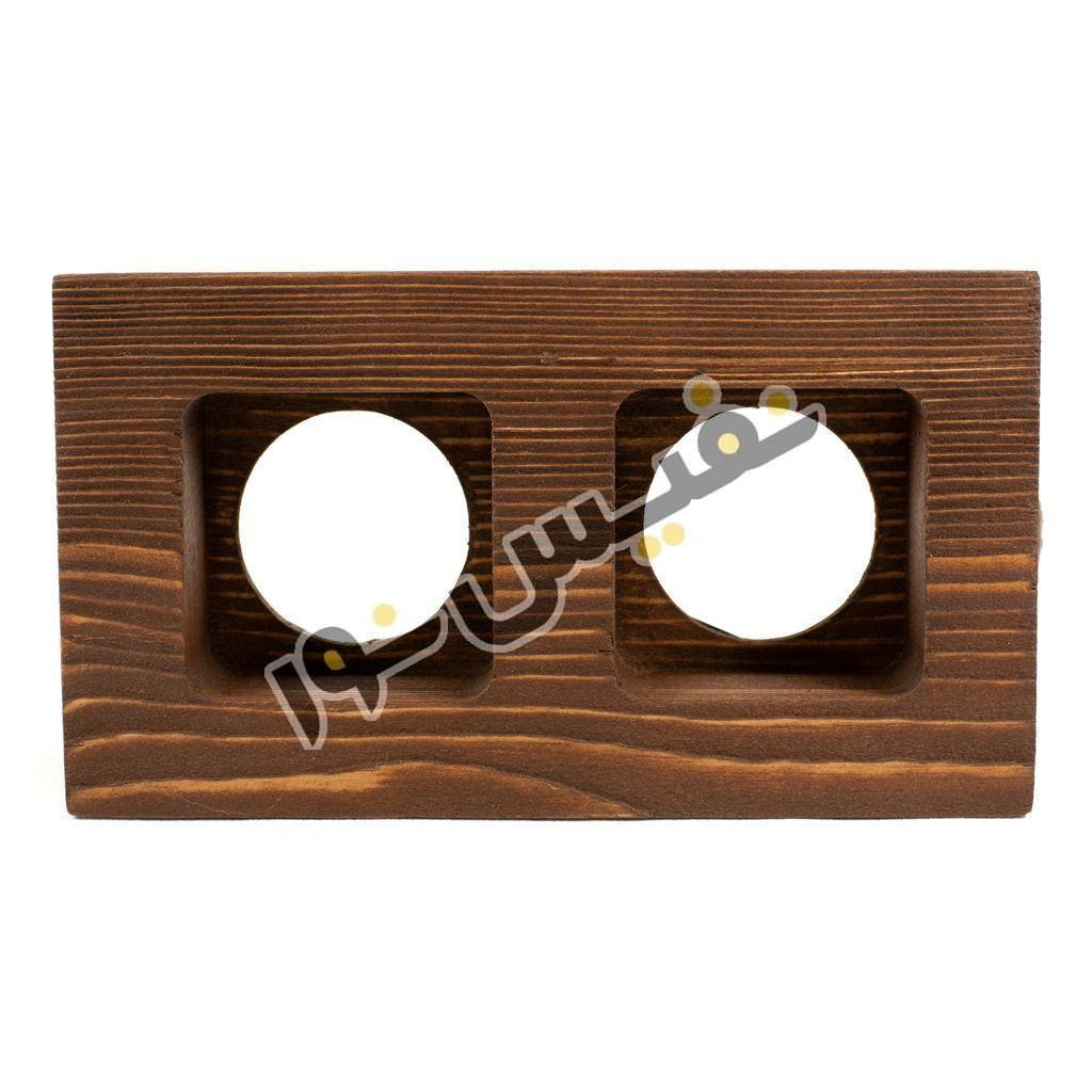 قاب هالوژن چوبی مربع عمیق دو قلو کد 1282
