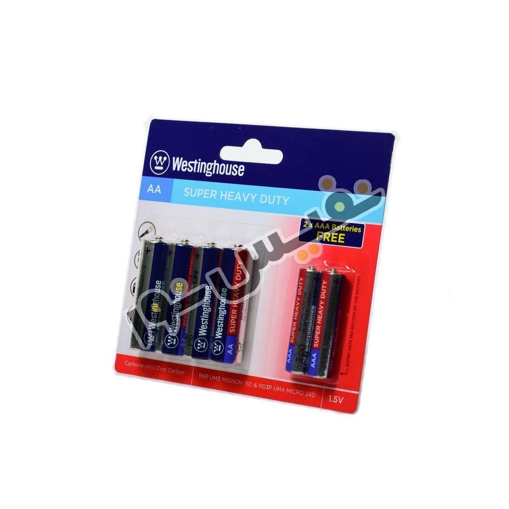 باتری قلمی و نیم قلمی وستینگهاوس مدل Super Heavy Duty بسته 6 عددی