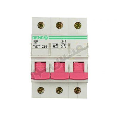 فیوز مینیاتوری سه فاز 63 آمپر دنا الکتریک مدل C63