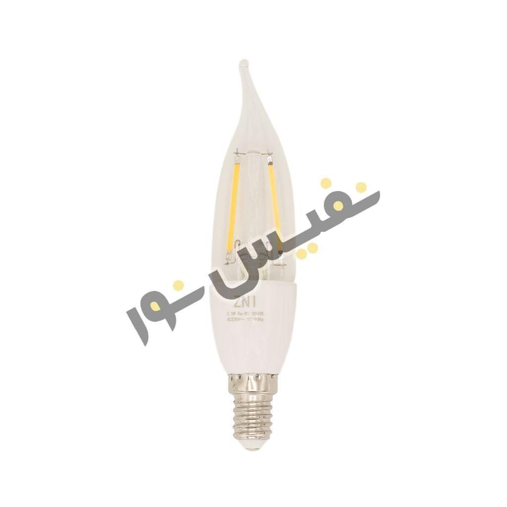 لامپ ال ای دی اشکی فیلامنتی 2.5 وات پایه E14 زمان نور