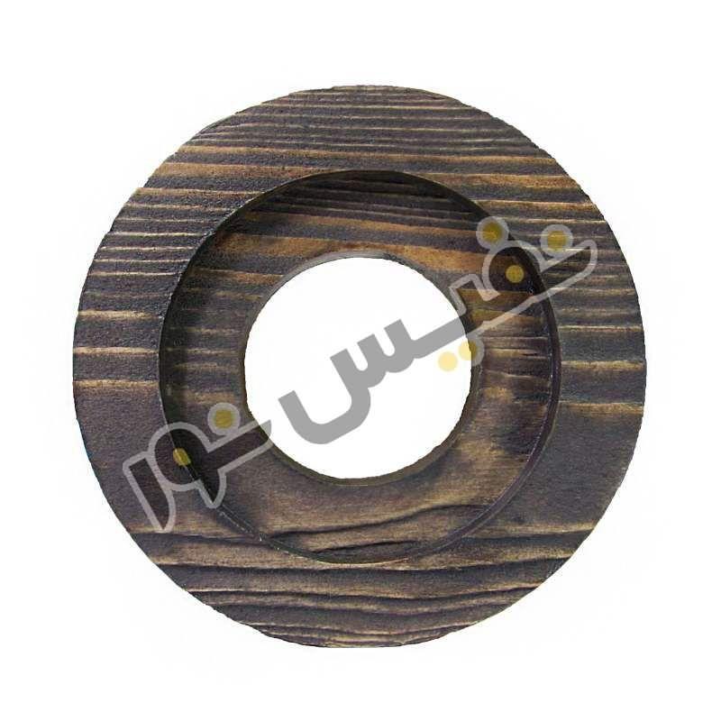 قاب هالوژن چوبی تخت دایره حاشیه دار مدل 1228